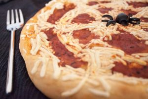 Halloween Pizza close up half of pizza
