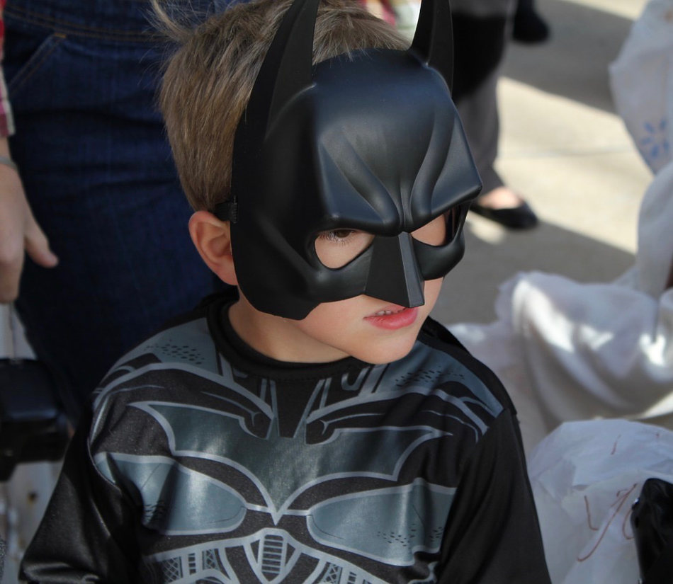 Boy in Batman Halloween Costume