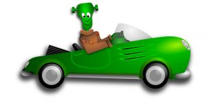 Green frankenstein car Halloween