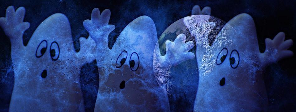 Spooky blue ghosts in moonlight