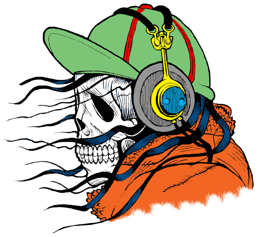Halloween music playlist skull with headphones