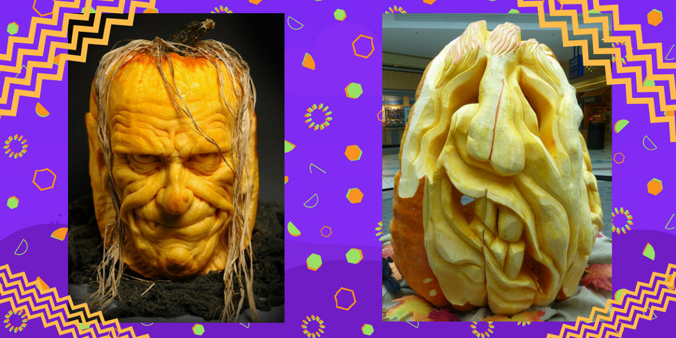Two skinned pumpkins faces