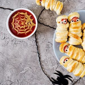 Halloween Mummy Dogs and Web Sauce