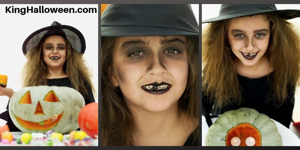 Simple witch makeup for child with jack-o-lantern