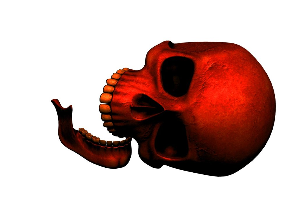 Red color skull on side
